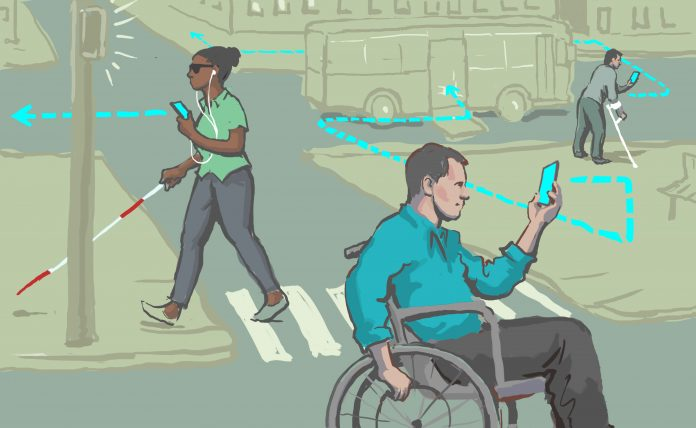 Illustration of people with disabilities using mobile devices to navigate a city street (State Dept./Doug Thompson)