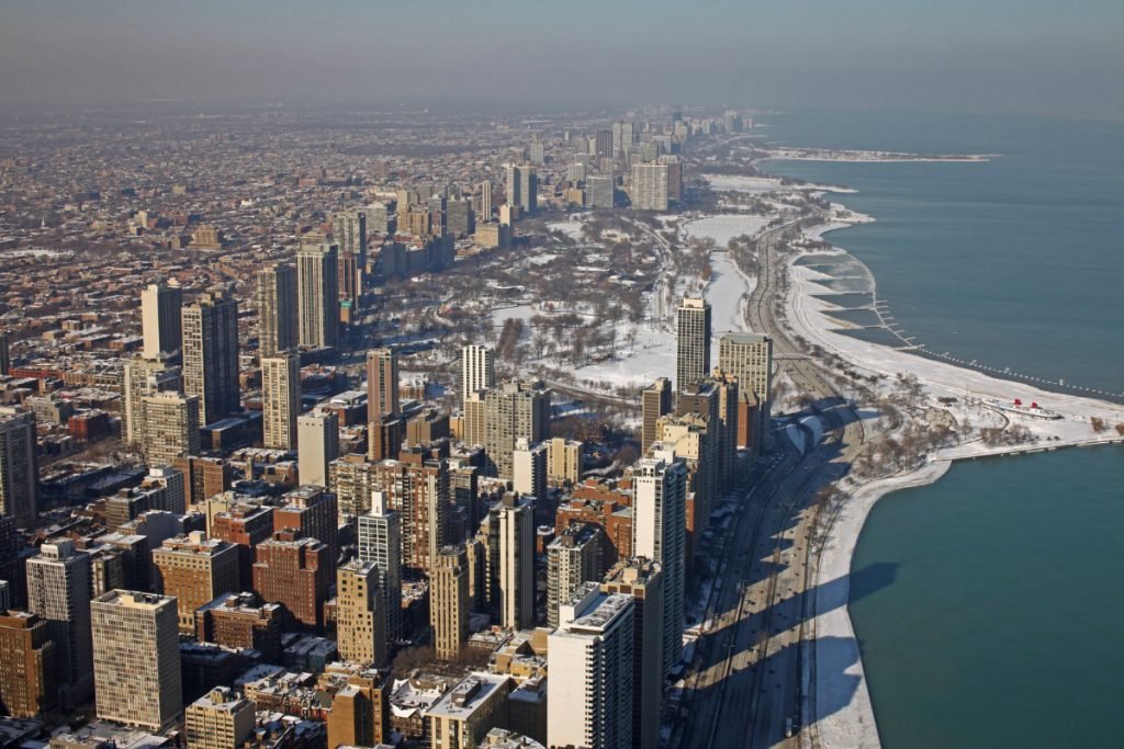 Chicago and Lake Michigan view from the top
